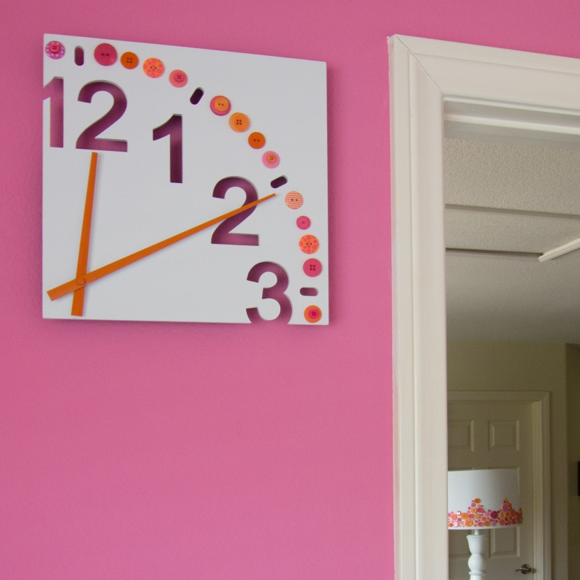 Pink & Orange Button Clock
