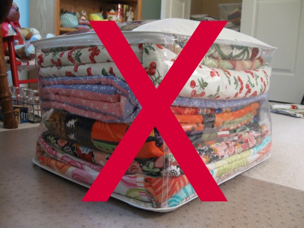 Don't Store Quilts in Plastic